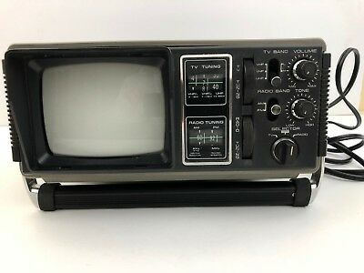Vintage Hanimex Black and White Portable TV w/AM/FM Radio, Works