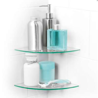 2 Tier Bathroom/Shower Glass Corner Shelves With Wall Fixing