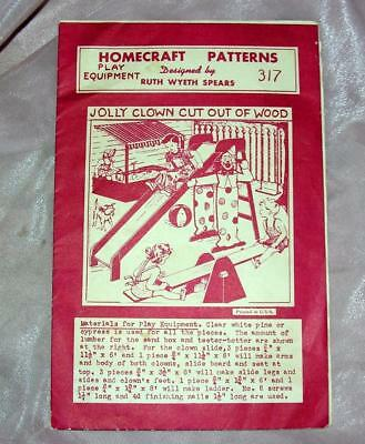 Vtg Woodworking Craft Pattern Diy, Kids Clown Slide, Sandbox, Tetter, R W Spears