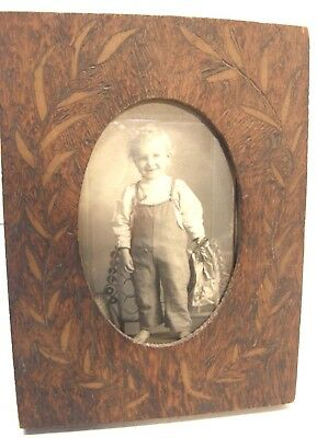 Antique Arts & Crafts Pyro Pyrography Wooden Easel Back Picture Frame 4X6