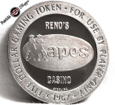 $5 Full Proof Sterling Silver Slot Token Mapes Casino 1967 Fm Mint Reno New Coin
