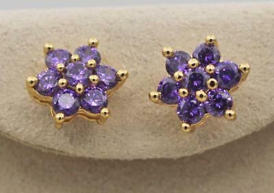 18K Gold Filled - Flower Round Amethyst Topaz Gems Wedding Women Stud Earrings