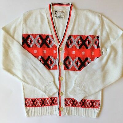 Vtg Penney's Boys Sweater White Red Black Holiday Cardigan Sz 10