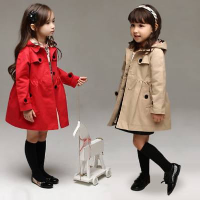 Red Girls Long Sleeve Casual Dress Jacket Hooded Trench Coat Outerwear Age 2-10