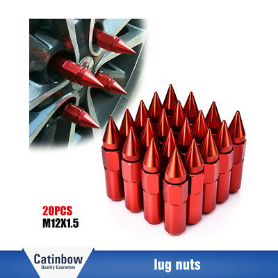 20PCS Red M12X1.5 Cap Spiked Extended Tuner 60mm Aluminum Wheels Rims Lug Nuts