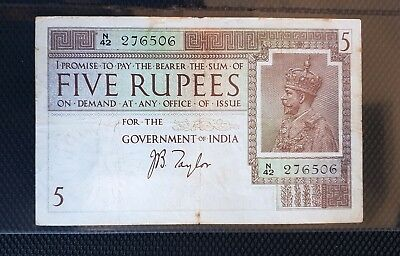 British India 5 Rupees, KG V , 1925 Sign JB Taylor, Pick# 4b