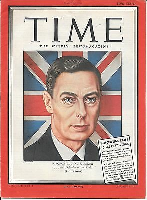 Time Magazine Pacific Pony Edition. March 6, 1944. King George VI. WW2.