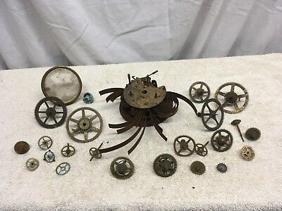 Vintage  Brass Clock Movement Parts Steam Punk Craft German Clock Gears