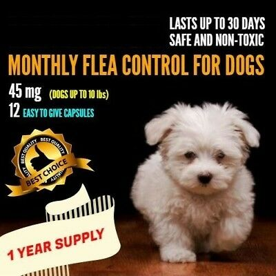 12 Monthly Capsules Flea Control 45 mg Dogs 2-10 lbs FAST FREE SHIPPING