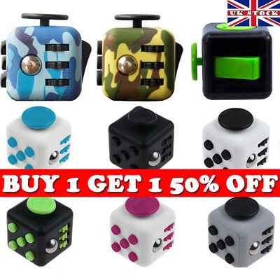 Camo Fidget Cube Spinner Toy Children Desk Adults Stress Relief Special Cubes UK
