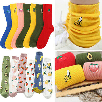 4 Pairs Women Cotton Cute Fruit Embroidery Print Colorful Funny Retro Long Socks