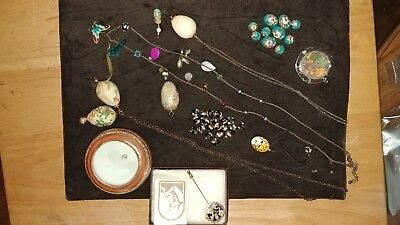 Huge Lot Of 11 22Kt Gold Gilded Vintage Antique Cloisonne Jewelry & Accessories
