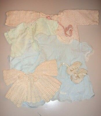 Lot of 6 Vintage Baby Clothing Items - Dresses Sweaters Booties 1950s Blue Green