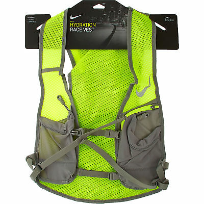 NIKE Hydration Race Vest For Running, High Vis, S/M Unisex, Grey & Neon Green