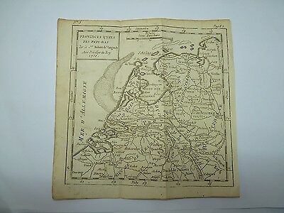 Antique 1750 Robert de VAUGONDY Woodblock Map - Netherlands - Buffier 17 x 17 cm
