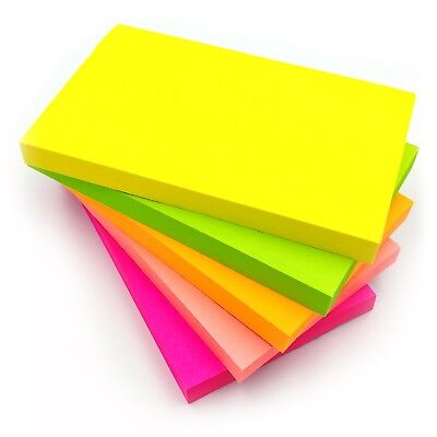 """1200 NEON Removable Sticky Post Notes 76mm x 127mm 3""""x 5"""" 100 Sheets per Pad"""