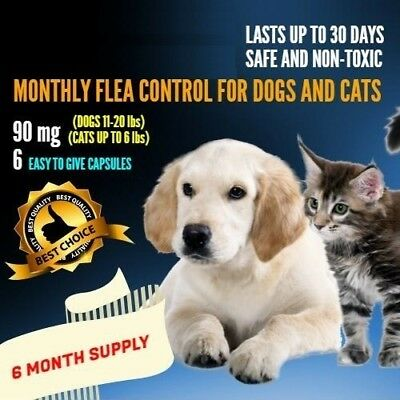 6 Monthly Capsules Flea Egg Control 90 mg Dogs 11-20 lbs & Cats Up to 6 lbs
