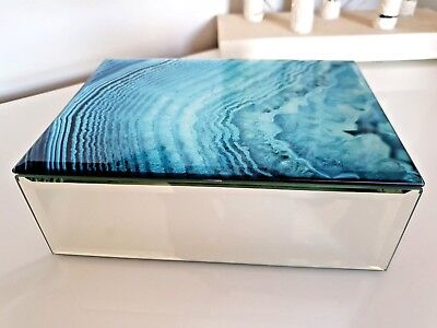 9d14dfce2c Large Glass Mirrored Blue Swirl Marble Effect Design Jewellery Storage Box  Gift