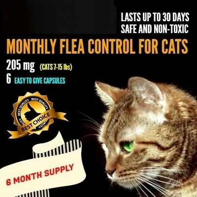 6 Monthly Capsules Flea Control 205mg Cats 7-15 lbs FAST FREE SHIPPING