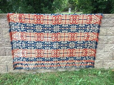 1840 VINTAGE WOVEN COVERLET J. H. March & Company Salona PA Clinton County