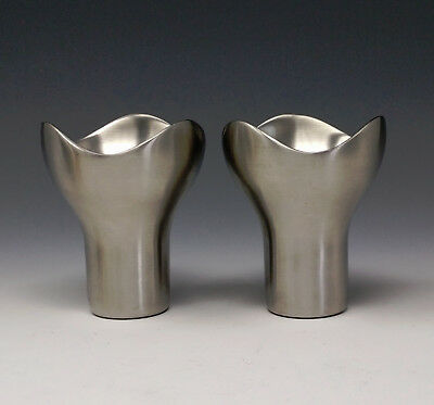 Vintage GEORG JENSEN 'BLOOM' Brushed Stainless Candle Holders by HELLE DAMKJAER
