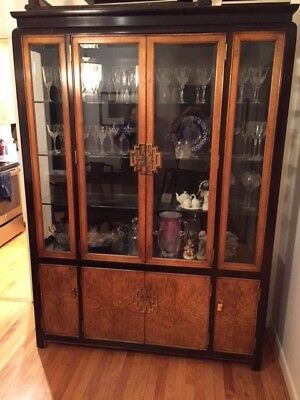 lCentury Furniture Chin Hua designed black lacquer & burled wood China Cabinet