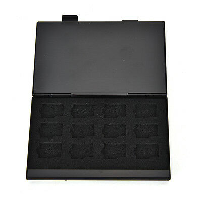Black Aluminum Memory Card Storage Case Box Holder For 24 TF Micro SD Cards Gut