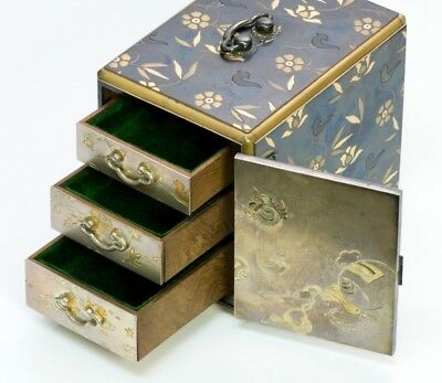 Antique Japanese Mixed Metal Silver Jewelry Box