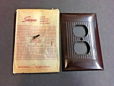 Vintage NOS Sierra Ribbed Brown Bakelite OVERSIZE Outlet Wall Plate Cover