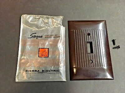 Vintage NOS Sierra Ribbed Brown Bakelite OVERSIZE Switch Wall Plate Cover