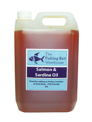 Sardine & Salmon Oil 5ltr - Fishing Bait, Carp, Bait Dip, PVA Friendly - 5 Litre