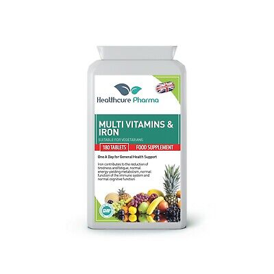 Multi Vitamins & Iron 180 Tablets for Men and Women One a Day Vegans UK Made