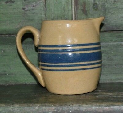 Vintage Small Yellow Ware Stoneware Pitcher Creamer with Cobalt Blue Bands