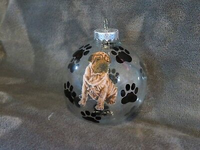 "Hand Made Shar Pei Dog 3"" Glass Christmas Ornament/ball"