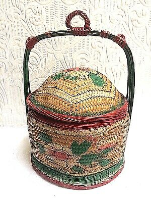 Superb Antique Chinese Hand Painted Sewing Basket