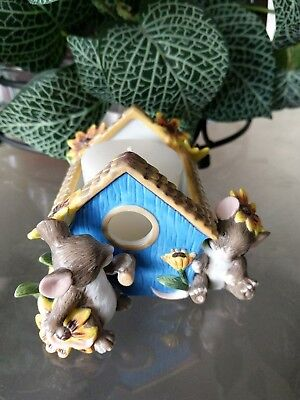 """2001 Charming Tails """"Spring Garden"""" Birdhouse Votive by Fitz and Floyd"""