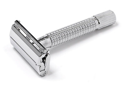 Stainless Steel Butterfly DE Shaving Safety Razor with 5 Double Edge Blades Pack