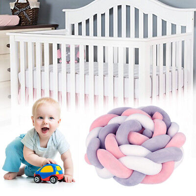 2/3M Baby Infant CVC Crib Bumper Bed Bedding Cot Braid Pillow Pad Protector