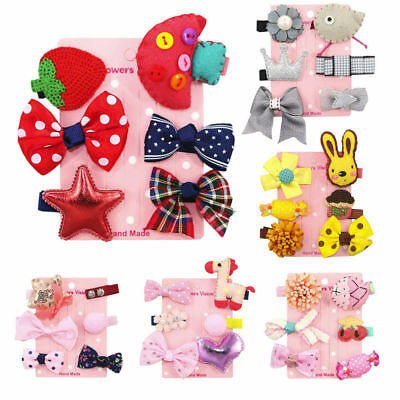 6pcs Hairpin Baby Toddler Hair Clip Bow Flower Barrettes Star Kids Infant Gift