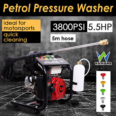WACWAGNER 5.5HP 3800PSI High Pressure Washer Cleaner Petrol Water Gurney 5M Hose