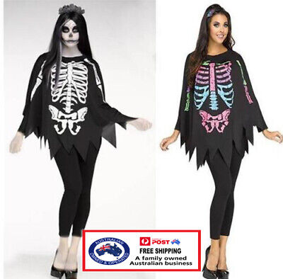 SKELETON PONCHO day of the dead costume Halloween dress up party fancy dress