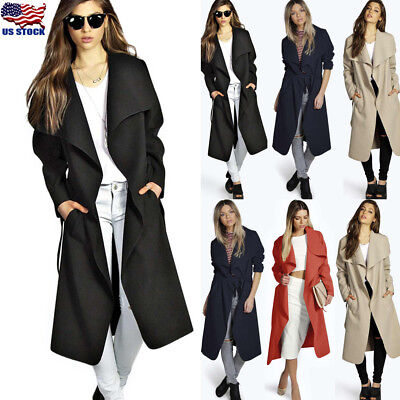Womens Slim Winter Warm Trench Coat Long Wool Jacket Parka Cardigans Outwear US