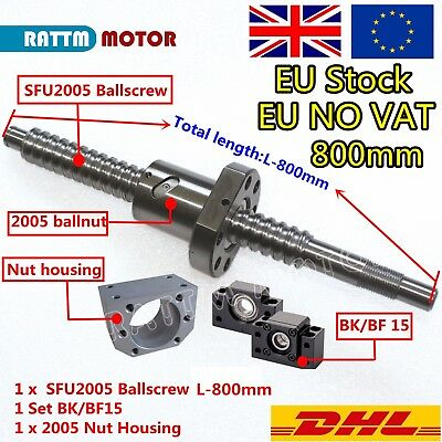 Ballscrew SFU2005-800mm with end machined+BK/BF 15 Support+Nut Housing CNC Kit