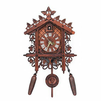 Vintage Handcraf Wood Cuckoo Wall Clock Tree House Style Hanging Pendulum Weight