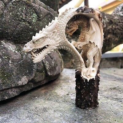 3D Medieval Dragon Inside Dragon Hand Carved Antler Horn Bone Cane Handle USA C5