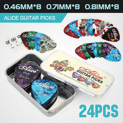 24pcs Alice Celluloid Plectrums Acoustic Electric Guitar Colorful Picks New