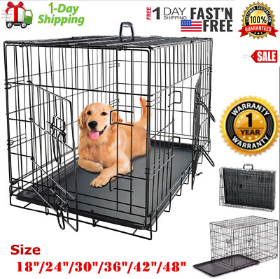 "Pet Cat Dog Folding Steel Crate Playpen w/Tray Metal Cage 18""/24""/30""/36""/42""/48"