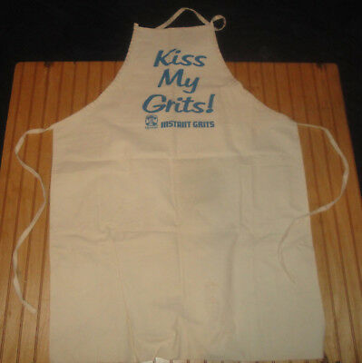 """Vintage Quaker Oats Unused Heavy Cotton Advertising Apron """"Kiss My Grits"""" USA"""