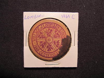 1969 Lombard, Illinois Wooden Nickel token - Lombard, IL Centennial Wooden Coin