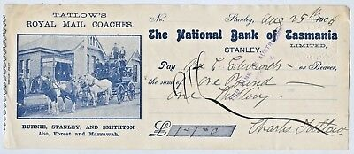 1909 Pictorial Bank Cheque National Bank Tasmania Royal Mail Coaches Stanley R50